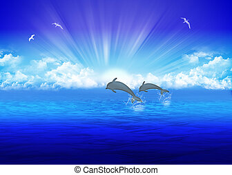 Sea - Pair jumping dolphin on background rising sun
