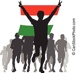Athlete with the Hungary flag - Illustration silhouettes of...
