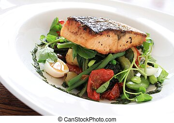salmon steak dinner - pan seared salmon steak with bean...