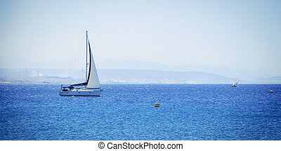 Lonely boat in the Red Sea
