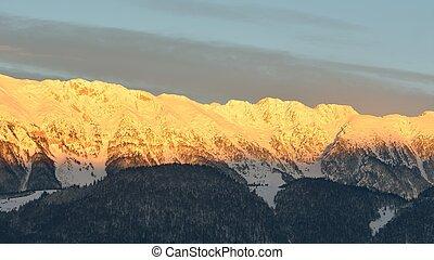 Mount Piatra Craiului at sunset