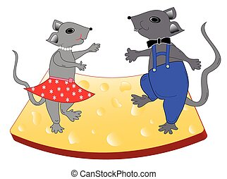 Mice dance on cheese - objects isolated, vetor format