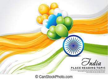 indian flag wave background with balloon