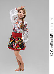 red-haired girl in the Slavic national costume - Pretty...