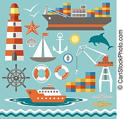 Port - Port set in the style of flat illustrationVector...