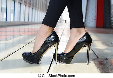 Lacquered shoes on heels