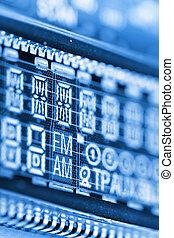 Radio LCD - Liquid crystal display of radio screen showing...