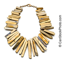 Gold Plated Titan Necklace on White Background - Close up...