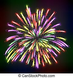 Bright abstract festive fireworks over black background....