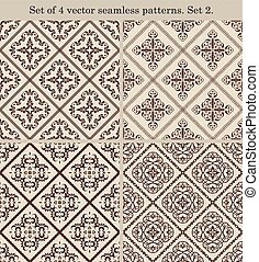 Set of 4 vintage seamless patternsSet 2 - Set of 4 vector...