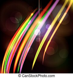 Abstract light color glowing line design against dark background.