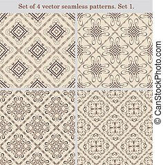 Set of 4 vintage seamless patternsSet 1 - Set of 4 vector...