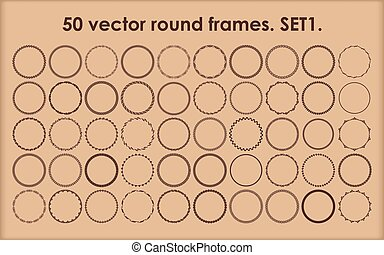 Set of 50 round frames in different styles.