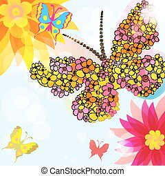 Abstract background with  flowers and butterflies .