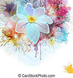 Abstract background in grunge style with flower.