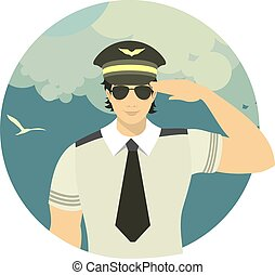 airline pilot in a round emblem - pilot of the plane on...