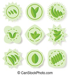 set of green leaves icons