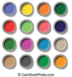 oil paint buckets - colorful illustration with oil paint...