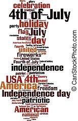 4th of July word cloud concept Vector illustration