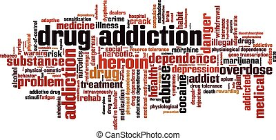 Drug addiction word cloud concept Vector illustration