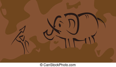 Prehistoric picture with hunter - Vector illustration...