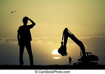 man worker silhouette