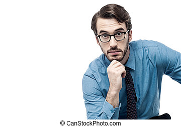 Entrepreneur lost in thoughts - Businessman thinking deeply...