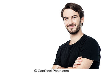 Handsome man posing with folded arms - Casual dressed man...