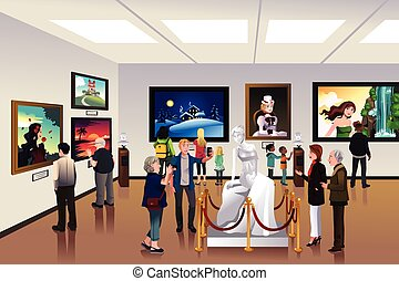 People inside a museum - A vector illustration of people...