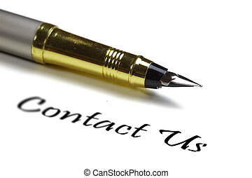 Contact us - Fountain pen and contact us text on white...