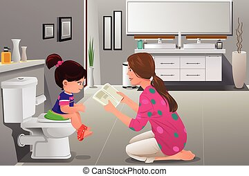 Girl doing potty training with her mother watching - A...