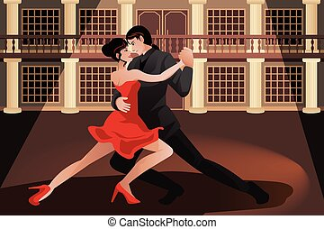 Couple dancing tango - A vector illustration of young couple...