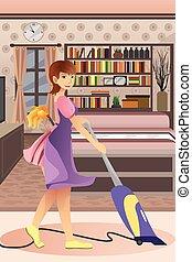 Happy woman vacuuming carpet