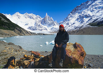 Los Glaciares National Park - Hiker sitting on a rock on the...