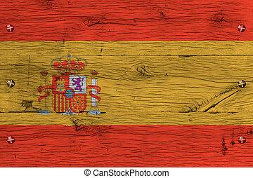 Spain national flag painted old oak wood fastened