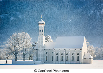 St Coloman at wintertime, Allgau, Germany