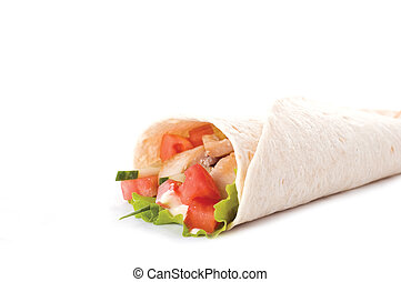 chicken wrap - chicken and vegetables wrapped in a tortilla