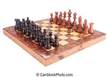 Old Chess board set up to begin a game over white
