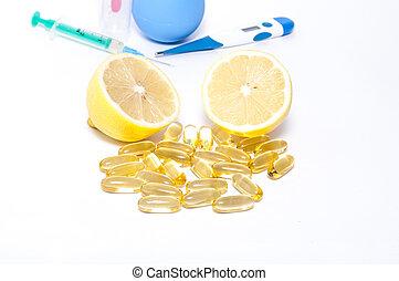 tradizionale, e, medicamentous, rimedi, per, freddo,