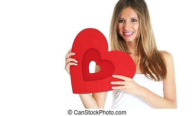 woman with red heart Valentine day
