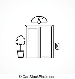 Closed elevator door black line vector icon - Single black...