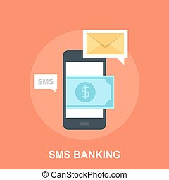 SMS Banking - Vector illustration of SMS banking flat design...