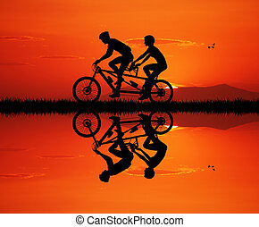 Tandem at sunset - illustration of tandem at sunset