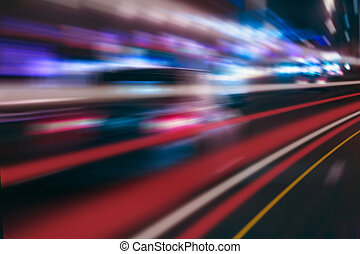 night highway with moving cars