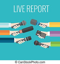 live report - Journalism concept vector - set of hands...