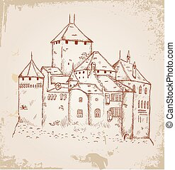 Castle sketch on old paper - vector representation of a...