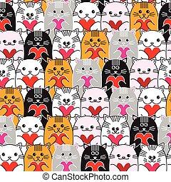 gatti, con, cuori, in, mani, seamless, vettore, modello,