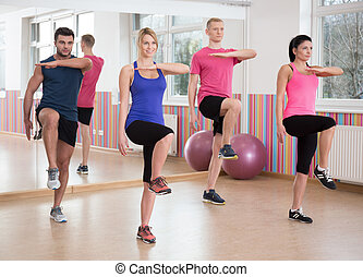 Fit people training in fitness club