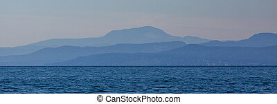 The Mountains of Vancouver Island and BC Mainland from Water