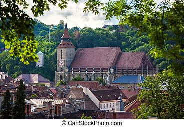 The Black Church cathedral and The White Tower in Brasov...